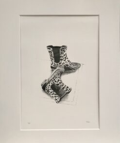 A drawing of some funky welly boots